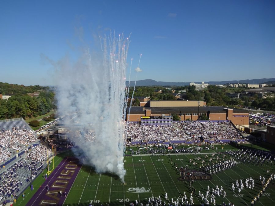 JMU Dukes Take the Field at Bridgeforth Stadium Zane Showker Field