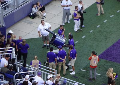T-shirt Cannon at Bridgeforth Stadium Zane Showker Field