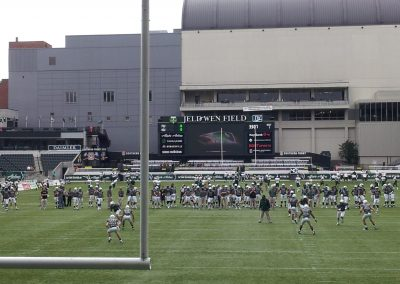 Providence Park, the players practice before the game