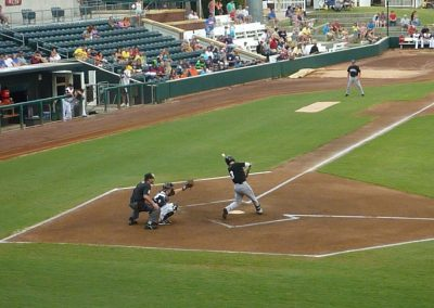 Batter Takes a Swing at Baseball Grounds of Jacksonville