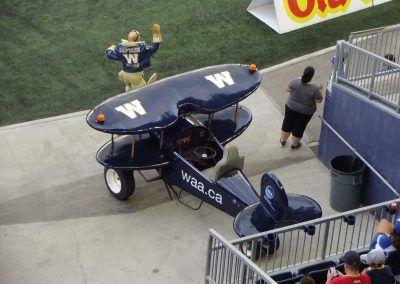 Investors Group Field, Winnipeg Blue Bombers Mascot Captain Blue with Biplane