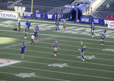 Investors Group Field, Winnipeg Blue Bombers Warming Up
