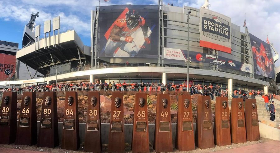 Broncos Ring of Fame Plaza outside Broncos Stadium at Mile High