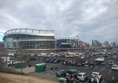 Broncos Stadium at Mile High, View of Parking and Downtown Denver