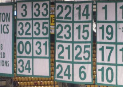 Retired Number Banners Hang at TD Garden