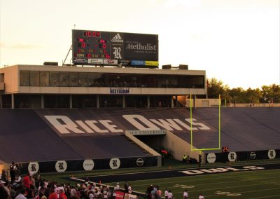 Rice Stadium, Scoreboard and Tarps over Seats