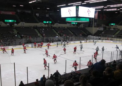 Warmups at WesBanco Arena