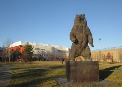 Brown Bear Statue Guards Meehan Auditorium Entrance