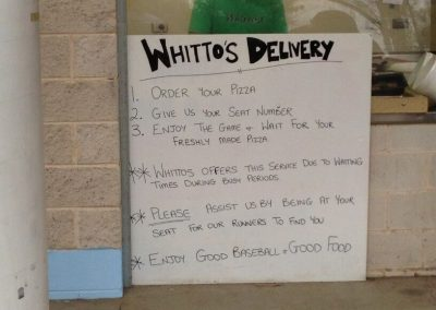 Pizza Delivery at Blue Sox Stadium