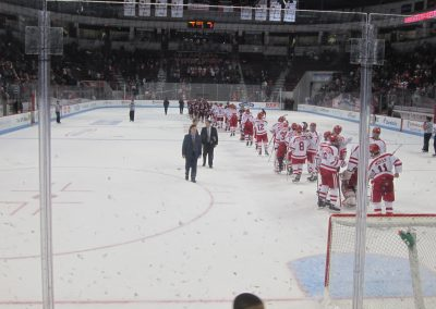 Terriers Line Up for Postgame Handshakes