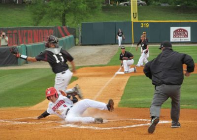 Governor Beats a Throw to the Plate