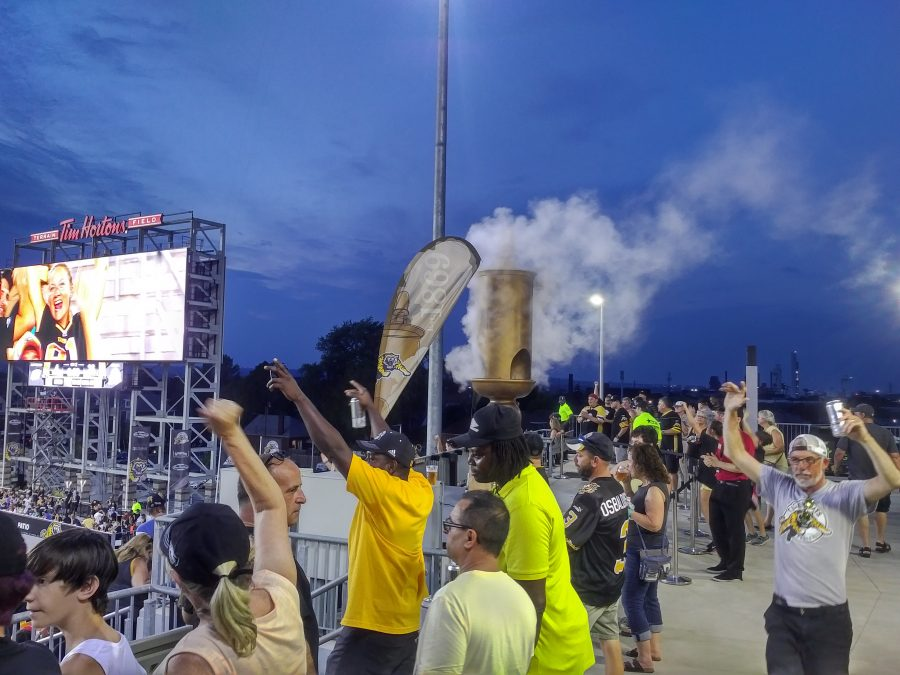 Tim Hortons Field, fans cheering on the Tiger-Cats