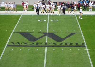Gibbs Stadium, Wofford Terriers Logo at Midfield