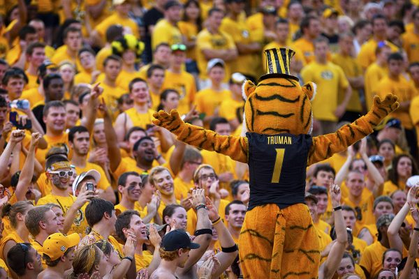 Truman the Tiger Macot Directs Fans at Faurot Field