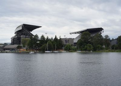 View of Alaska Airlines Field at Husky Stadium from Lake Washington