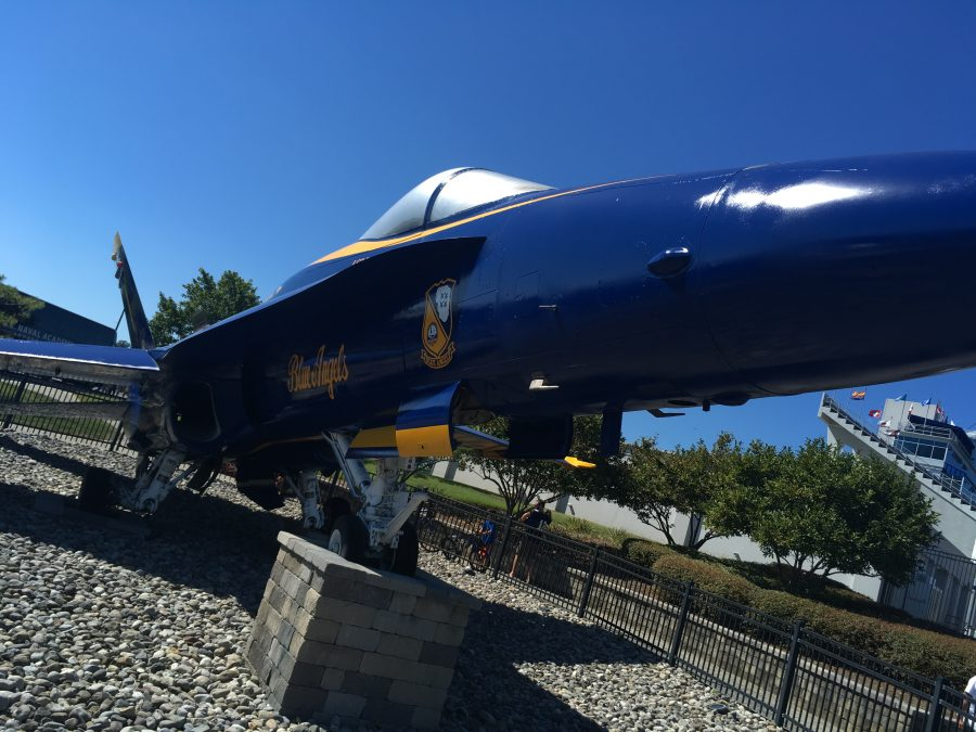 Blue Angels Plane On Display Outside Of Stadium