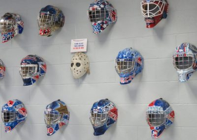 Goalie Mask Display at the Kitchener Aud