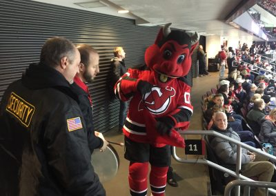 Devils Mascot Gets Ready for a Promo