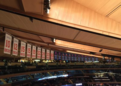 Madison Square Garden, New York Knicks banners hanging from the ceiling