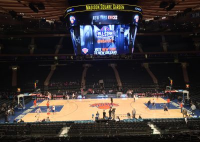 Madison Square Garden, the New York Knicks warming up before the game