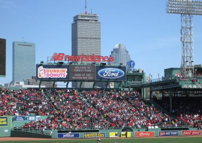 The Prudential Tower Looms over Fenway Park Bleachers