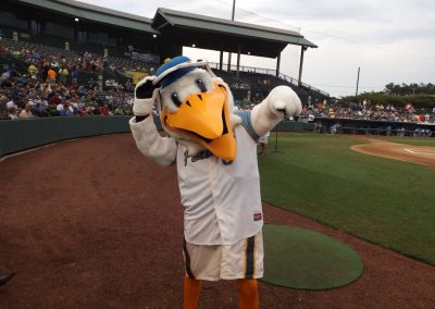 TicketReturn.com Field at Pelicans Ballpark Mascot