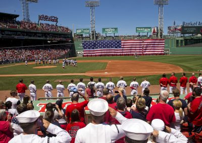 Sailors Salute the Flag at Fenway Park