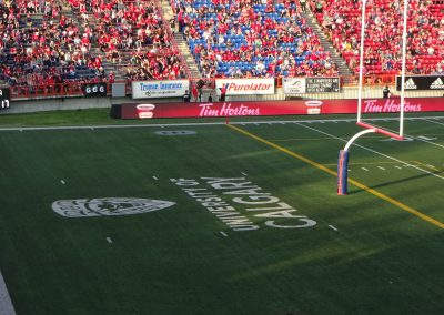 McMahon Stadium, lettering in the end zone