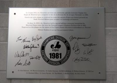 Percival Molson Memorial Stadium, commemoration plaque from the Montreal Expos