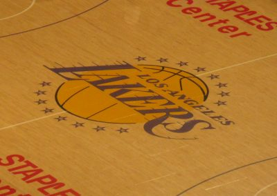 Staples Center, L. A. Lakers logo at midcourt