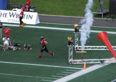 TD Place Stadium, Ottawa Redblacks coming onto the field