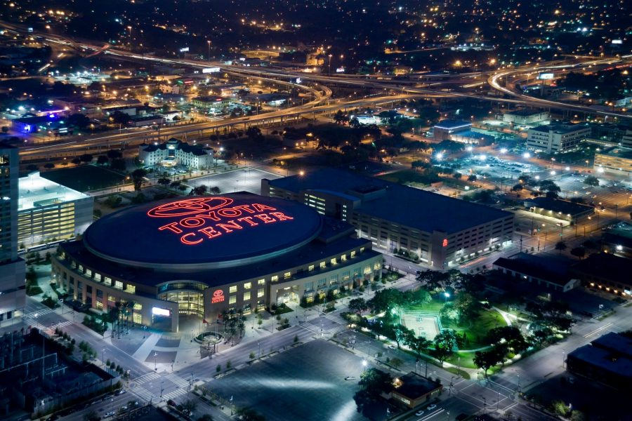 Toyota Center, aerial view of the exterior of the venue