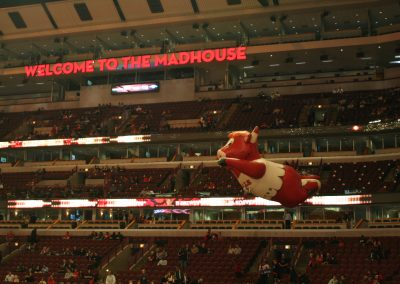 United Center, Chicago Bulls inflatable bull mascot floating over the crowd