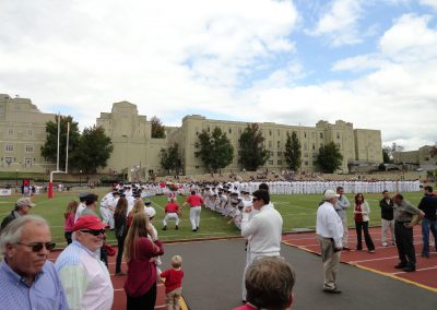 Alumni Memorial Field at Foster Stadium, Cadets and Mascot Wait for Players