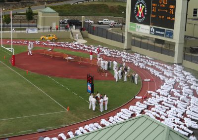 Alumni Memorial Field at Foster Stadium, Rats Doing Push Ups after a VMI Keydets Score