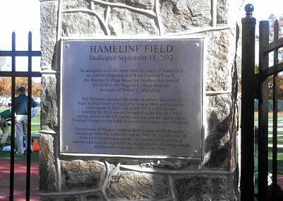 Hameline Field at Wagner College Stadium, Dedicatory Plaque