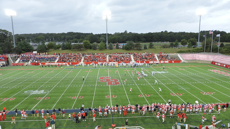 Kenneth P. LaValle Stadium, 50-yard line view of game