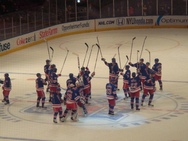 Rangers Celebrate Victory at Madison Square Garden