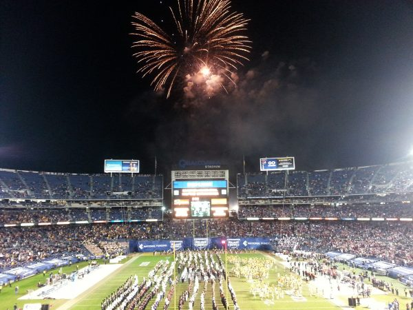 Halftime Fireworks at SDCCU Stadium for the Holiday Bowl