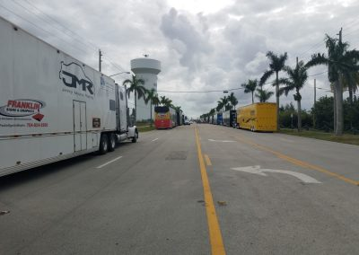 Haulers Lined Up to get into Homestead-Miami Speedway