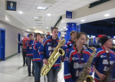 UMass Lowell Band Marches on Concourse