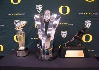 Football Trophies on Display at Matthew Knight Arena