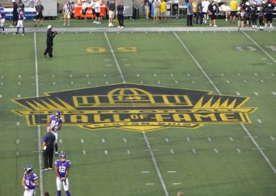 Tom Benson Hall of Fame Stadium, Hall of Fame Logo at Midfield