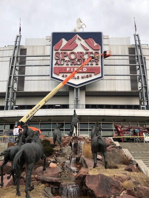 Removal of Sports Authority Signage Begins at Mile High
