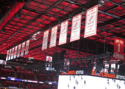 Banners Hang at Little Caesars Arena
