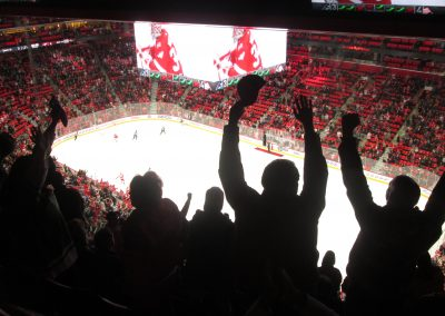 Fans Celebrate a Red Wings Victory
