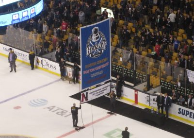 Beanpot Banner Raised to Rafters