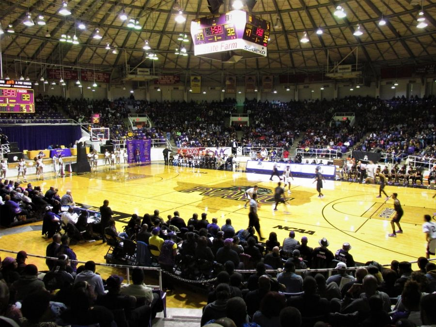 William Nicks Building, Prairie View A&M Logo at Midcourt
