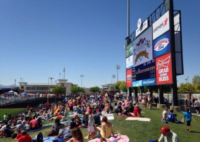 Crowd and Scoreboard on Outfield Berm