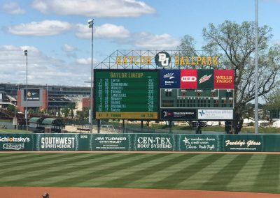 Baylor Ballpark, Scoreboard with McLane Stadium in the Background